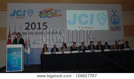 ANKARA/TURKEY-SEPTEMBER 12, 2015: JCI (Junior Chamber International) President Ismail Haznedar at ATO Congresium Hall for the General Assembly of JCI Turkey 2015. September 12, 2015-Ankara/Turkey