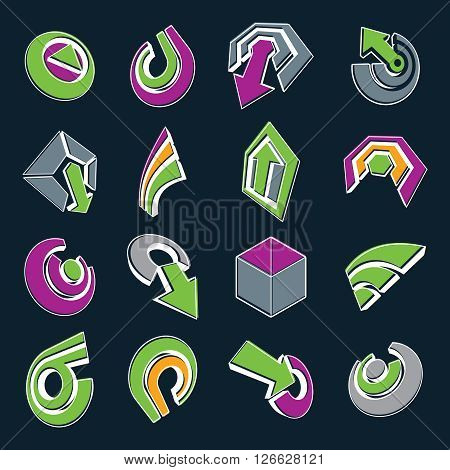 Vector 3d simple navigation pictograms collection. Set of green and purple corporate abstract design elements. Arrows and circular web icons.