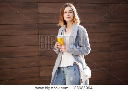 young beautiful happy stylish hipster girl, cocktail, smoozy drink