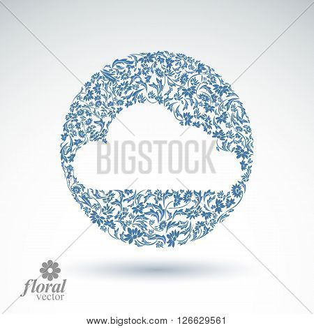 Climate conditions conceptual icon flower-patterned gloomy cloud. Weather forecast graphic vector pictogram best for use in web design.