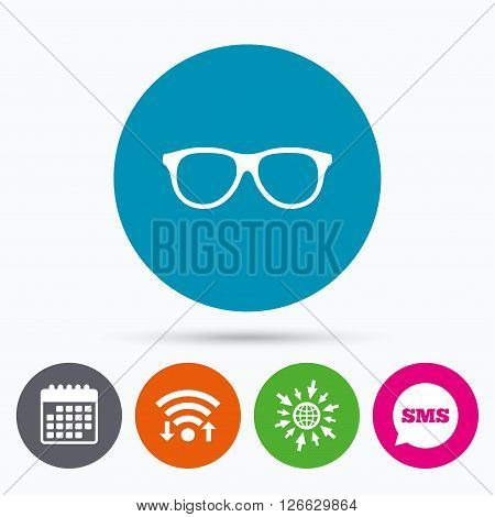 Wifi, Sms and calendar icons. Retro glasses sign icon. Eyeglass frame symbol. Go to web globe.