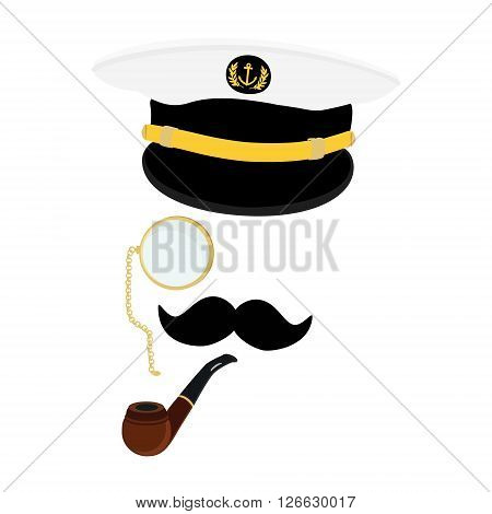 Vector illustration navy cap with golden anchor and laurel wreath. Navy captain hat with black mustache monocle and smoking pipe