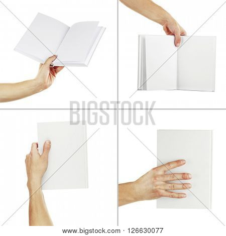 Man hands holding books isolated on white in collage