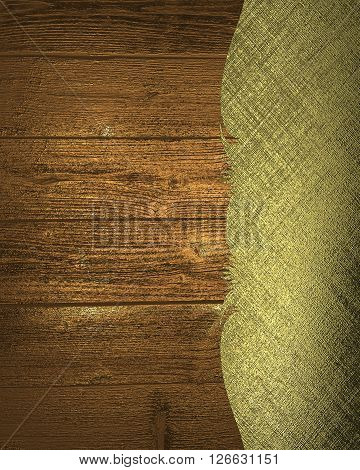 Grunge Wood Background With Gold Pattern. Template For Design. Copy Space For Ad Brochure Or Announc