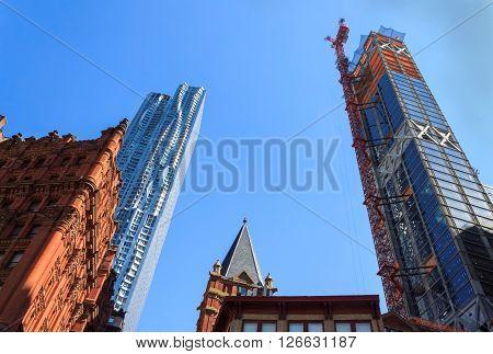 Skyscraper construction on blue sky in Manhattan New-York USA