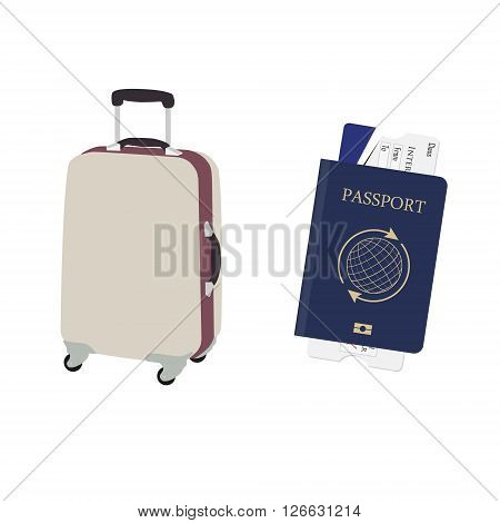 Vector illustration travel baggage and blue passport with boarding pass. Airplane ticket. Identification document. Vacation case with wheels. Luggage