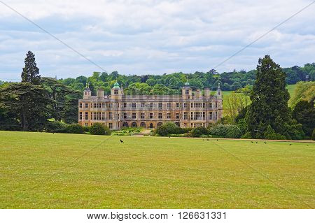 Audley End House and Garden Front in Essex in England. It is a medieval county house. Now it is under protection of the English Heritage.