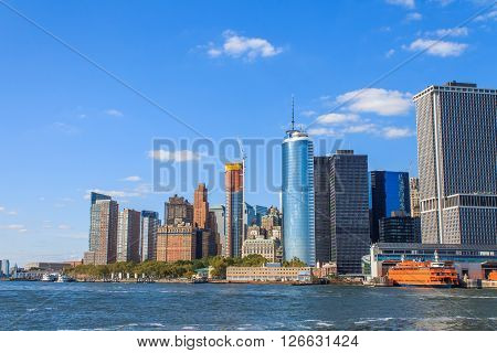 Manhattan Skyline With Over Hudson River