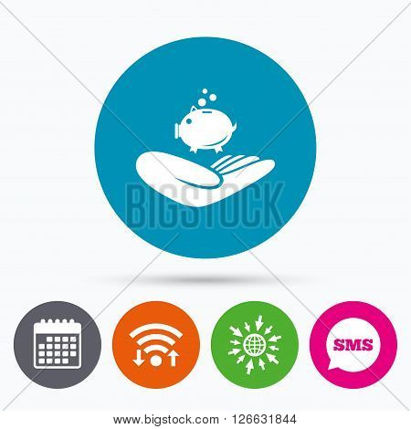 Wifi, Sms and calendar icons. Donation hand sign icon. Hand holds Piggy bank. Charity or endowment symbol. Human helping hand palm. Go to web globe.
