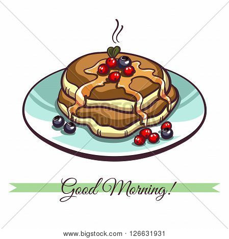 Hand drawn pancakes with syrup and berries on a plate. Pancakes in cartoon style isolated on white background. Vector illustration.