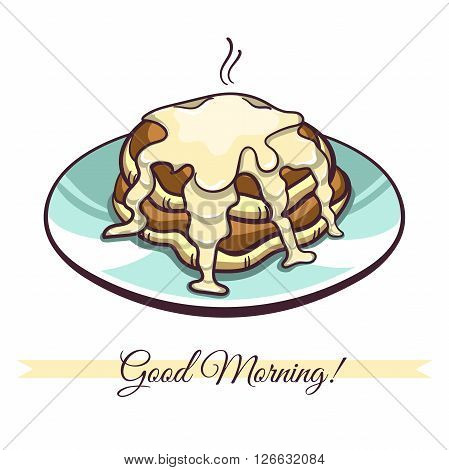 Hand drawn pancakes with condensed milk on a plate. Pancakes in cartoon style isolated on white background. Vector illustration.