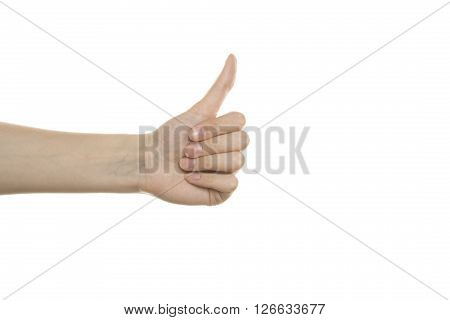 Woman hand thumbs Up. Isolated on white background