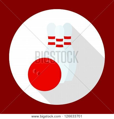 Icons bowling game, bowling ball, and in the flat style with a long shadow in a white circle on a red background.
