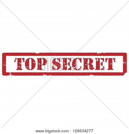 Red rubber stamp with text top secret vector isolated on white