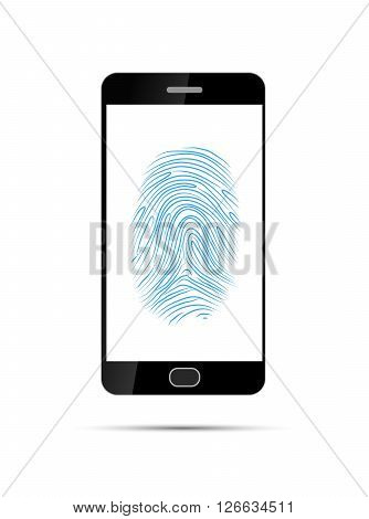Realistic black smartphone with Imprint of the thumb of the human hand isolated on white