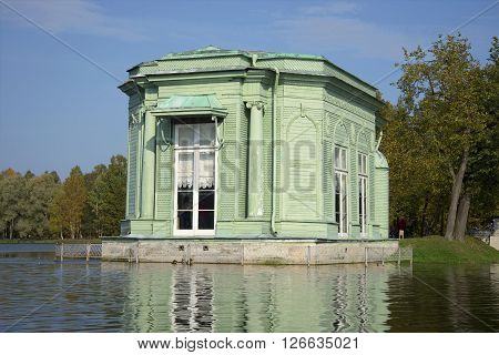 The pavilion of Venus. The view from White lake, Gatchina, Russia
