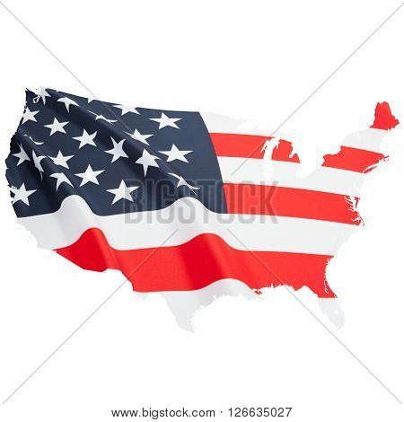National flag in shape of national borders series - USA