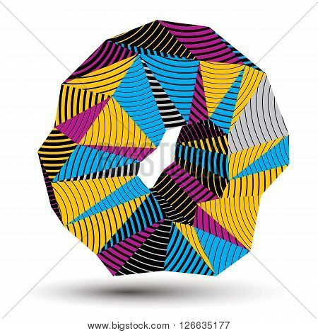 Geometric abstract 3D complicated striped vector object colorful asymmetric three-dimensional element isolated.