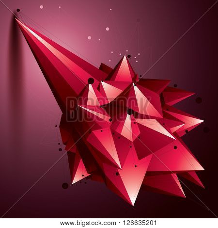 Asymmetric 3D Abstract Red Object With Connected Lines And Dots, Geometric Form With Lattice Structu