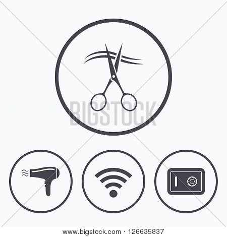 Hotel services icons. Wi-fi, Hairdryer and deposit lock in room signs. Wireless Network. Hairdresser or barbershop symbol. Icons in circles.