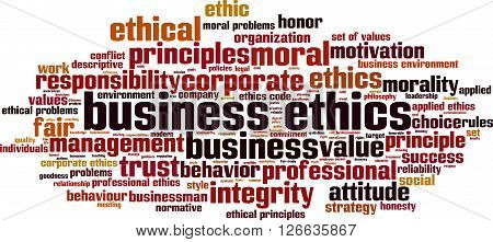Business ethics word cloud concept. Vector illustration