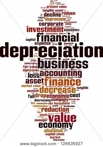 Depreciation word cloud concept. Vector illustration on white
