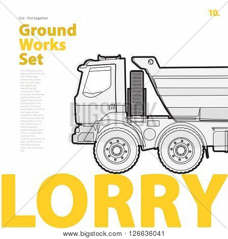 Outline typography set with lorry. Outlined truck. Construction machinery vehicle. Construction equipment for building. Nice ground works typography page.