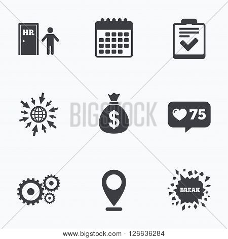 Calendar, like counter and go to web icons. Human resources icons. Checklist document sign. Money bag and gear symbols. Man at the door. Location pointer.
