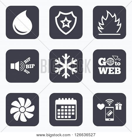 Mobile payments, wifi and calendar icons. HVAC icons. Heating, ventilating and air conditioning symbols. Water supply. Climate control technology signs. Go to web symbol.