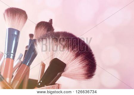 Make up brushes set on bright background