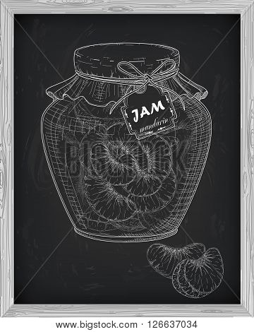 Beautiful Jar Of Homemade Jam With Mandarin On A Black Background