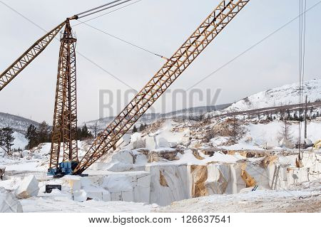 abandoned quarry of white marble in Siberia
