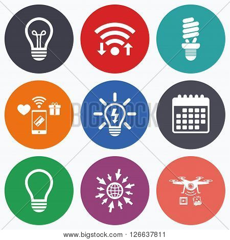 Wifi, mobile payments and drones icons. Light lamp icons. Fluorescent lamp bulb symbols. Energy saving. Idea and success sign. Calendar symbol.