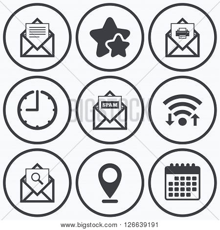 Clock, wifi and stars icons. Mail envelope icons. Print message document symbol. Post office letter signs. Spam mails and search message icons. Calendar symbol.