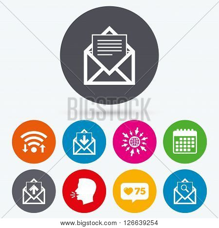 Wifi, like counter and calendar icons. Mail envelope icons. Find message document symbol. Post office letter signs. Inbox and outbox message icons. Human talk, go to web.