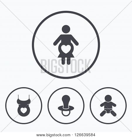 Maternity icons. Baby infant, pregnancy and dummy signs. Child pacifier symbols. Shirt with heart. Icons in circles.