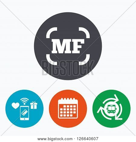 Manual focus photo camera sign icon. MF Settings symbol. Mobile payments, calendar and wifi icons. Bus shuttle.