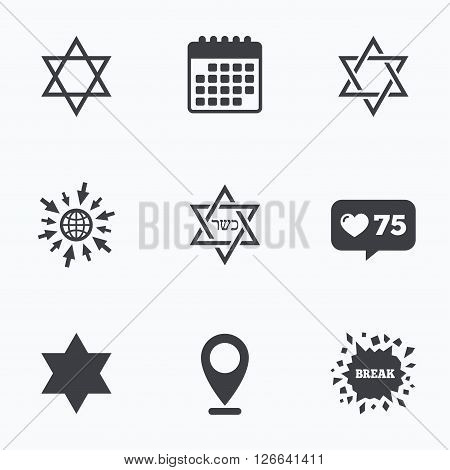 Calendar, like counter and go to web icons. Star of David sign icons. Symbol of Israel. Location pointer.