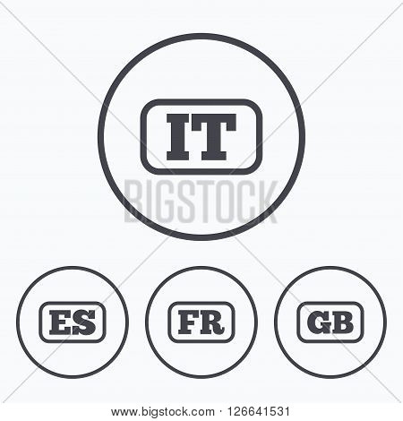 Language icons. IT, ES, FR and GB translation symbols. Italy, Spain, France and England languages. Icons in circles.