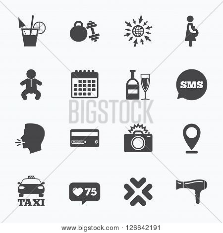 Calendar, go to web and like counter. Hotel, apartment service icons. Fitness gym. Alcohol cocktail, taxi and hairdryer symbols. Sms speech bubble, talk symbols.