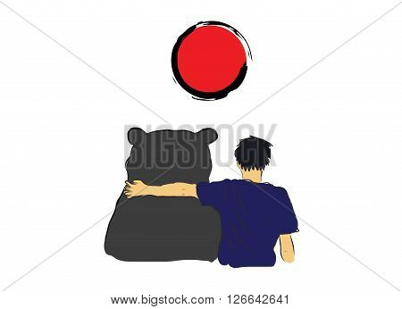 Unknown man hug the big bear for encourage by my own sketch drawingwith red circle of Japan symbol