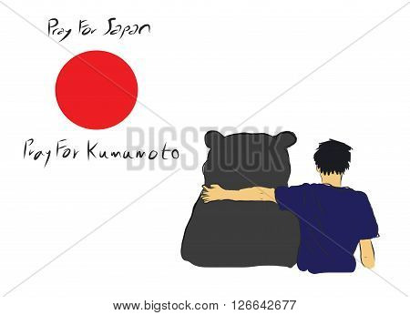 Pray for Japan and Kumamoto province for the eartquake diaster incident with unknown man hug the big bear for encourage by my own sketch drawing under the red circle of Japan flag