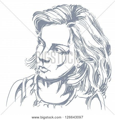Portrait Of Delicate Good-looking Peaceful Woman, Black And White Vector Drawing. Emotional Expressi