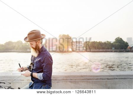 River Writer Casual Leisure Tourist Traveling Trip Concept