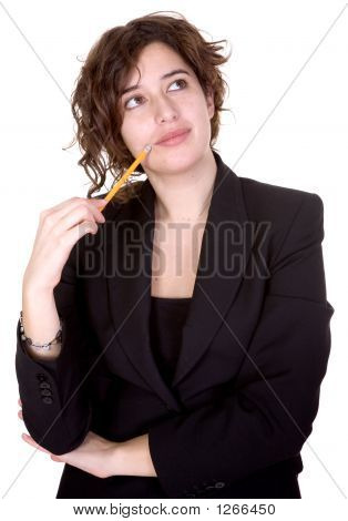 Business Woman Thinking Of Ideas