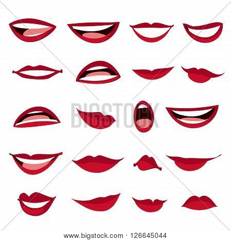 Set female lips isolated on a white background. Female lips in cartoon style. Lips with a variety of emotions facial expressions. Vector illustration.