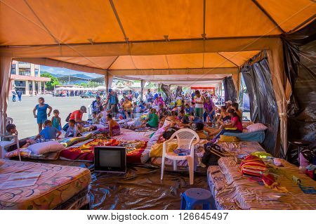 Portoviejo, Ecuador - April, 18, 2016: Inside view of tents for the refugees after 7.8 earthquake