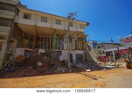 Portoviejo, Ecuador - April, 18, 2016: Building showing the aftereffect of 7.8 earthquake that destroyed the city center.