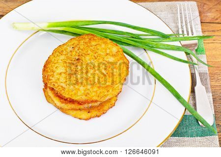 Fried Potato Pancakes. Belarusian and German Cuisine. Studio Photo