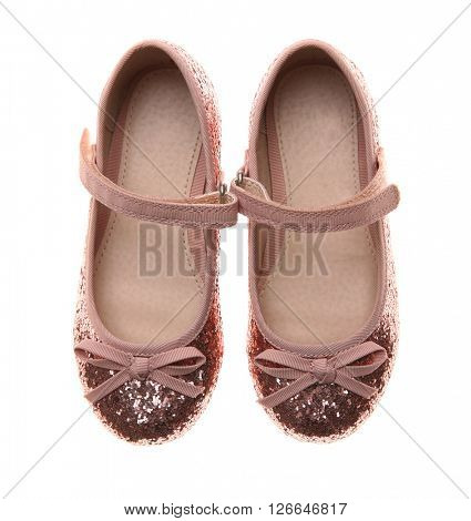 Pink Mary Jane flats for girls, isolated on white
